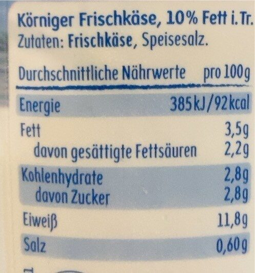 Körniger Frischkäse - Valori nutrizionali - de