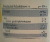 Buttermilch Zitrone - Informations nutritionnelles - de