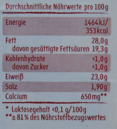 Tomate Basilikum Käse - 50 % Fett i. Tr. - Informations nutritionnelles - de