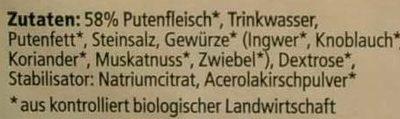 Puten-Fleischwurst - Ingredients