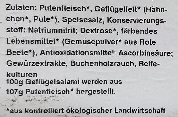 Bio Geflügel Salamista - Ingrédients - de