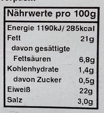 Bio Geflügel Salamista - Informations nutritionnelles - de