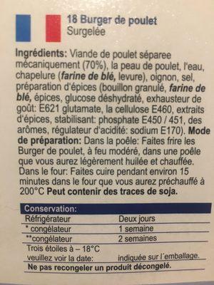 Burgers de poulet - Ingredients