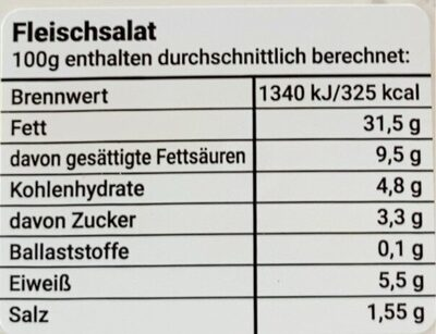 Fleischsalat - Valori nutrizionali - de
