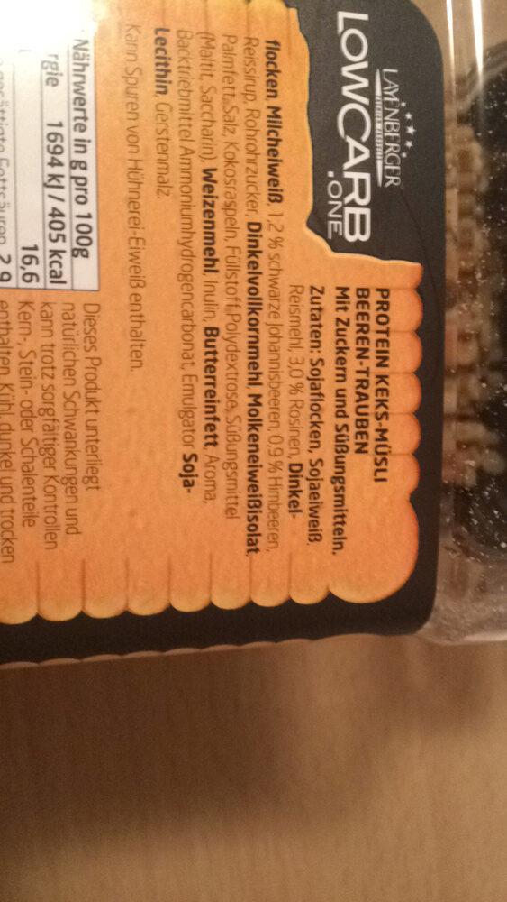 Layenberger, lowcrab protain keks-müsli - Ingredients