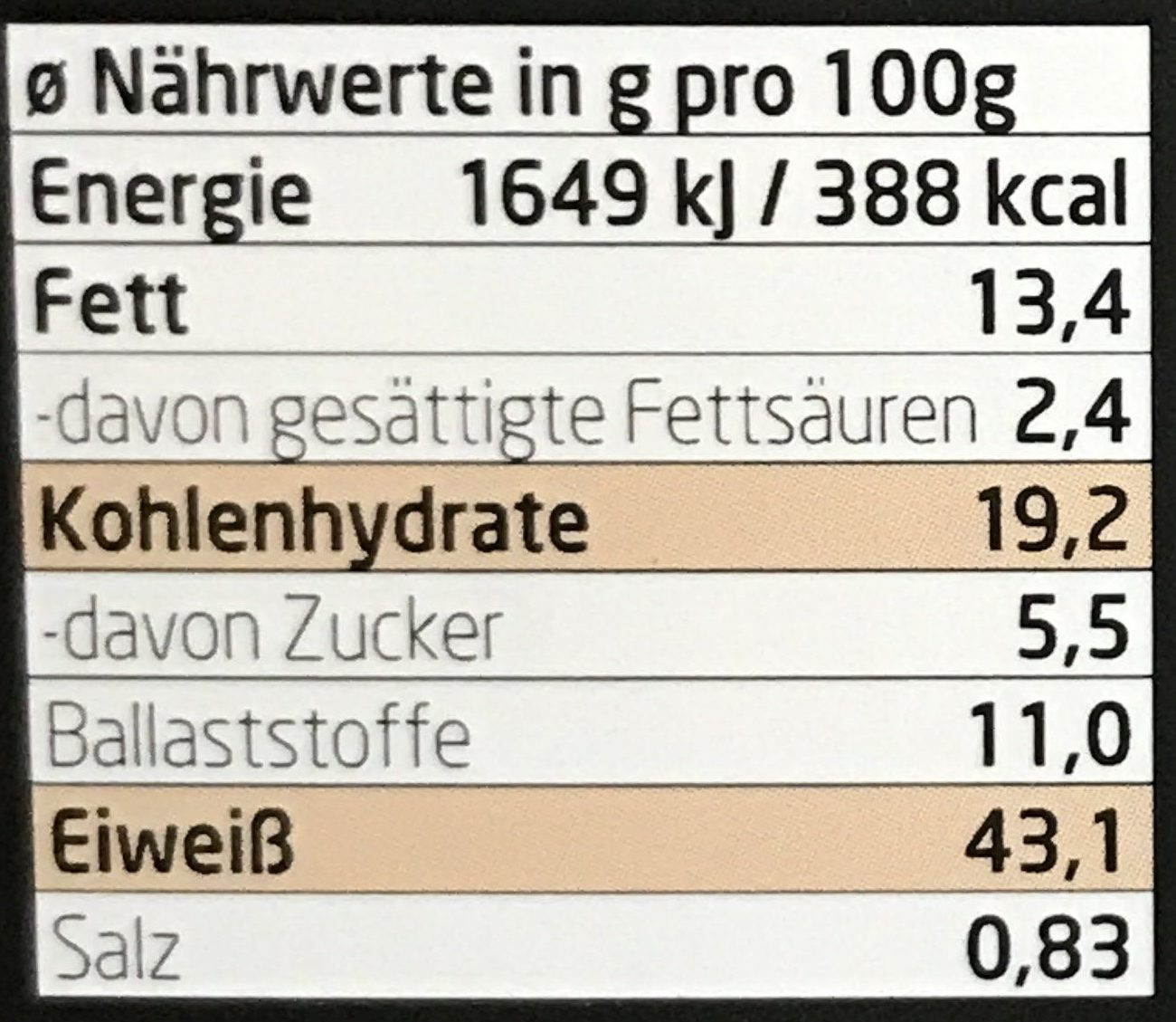 Protein müsli [choco-banane] - Nutrition facts - fr