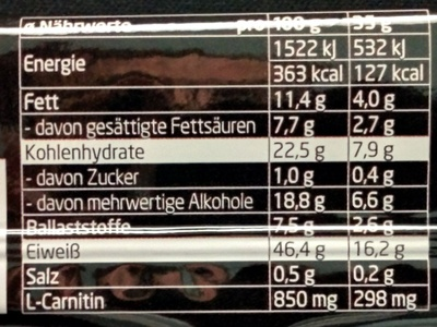 Protein Riegel Kokos-Mandel - Informations nutritionnelles - de