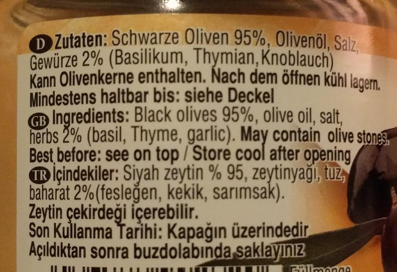 Schwarze Olivenpaste mit Gewürzen - Ingredienti - de