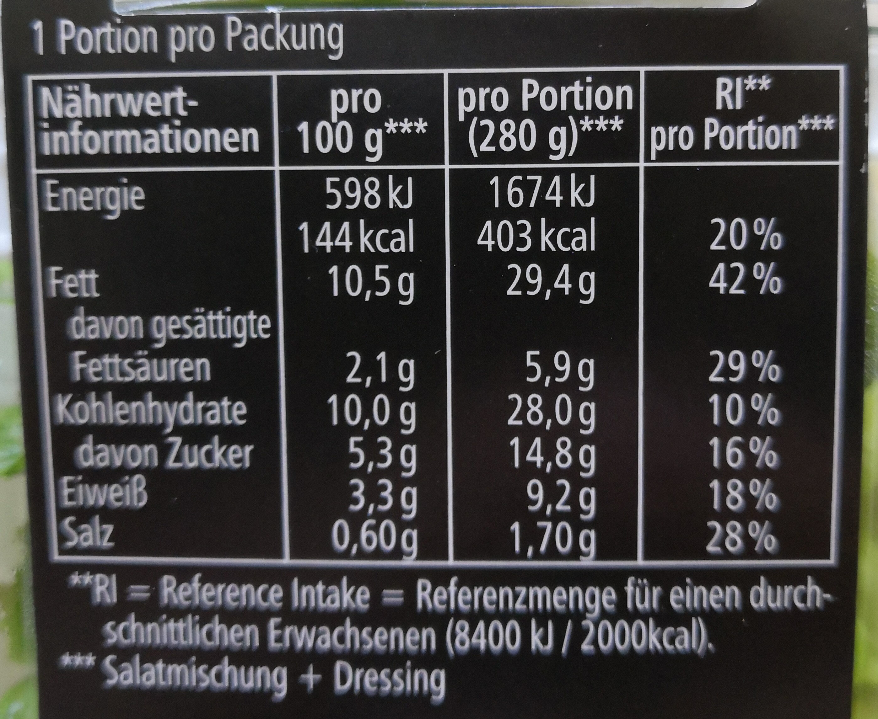 Meal Quick Frischer Salat Caesar - Nutrition facts - de