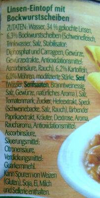 Linsentopf 1 Portion - Ingredients - de