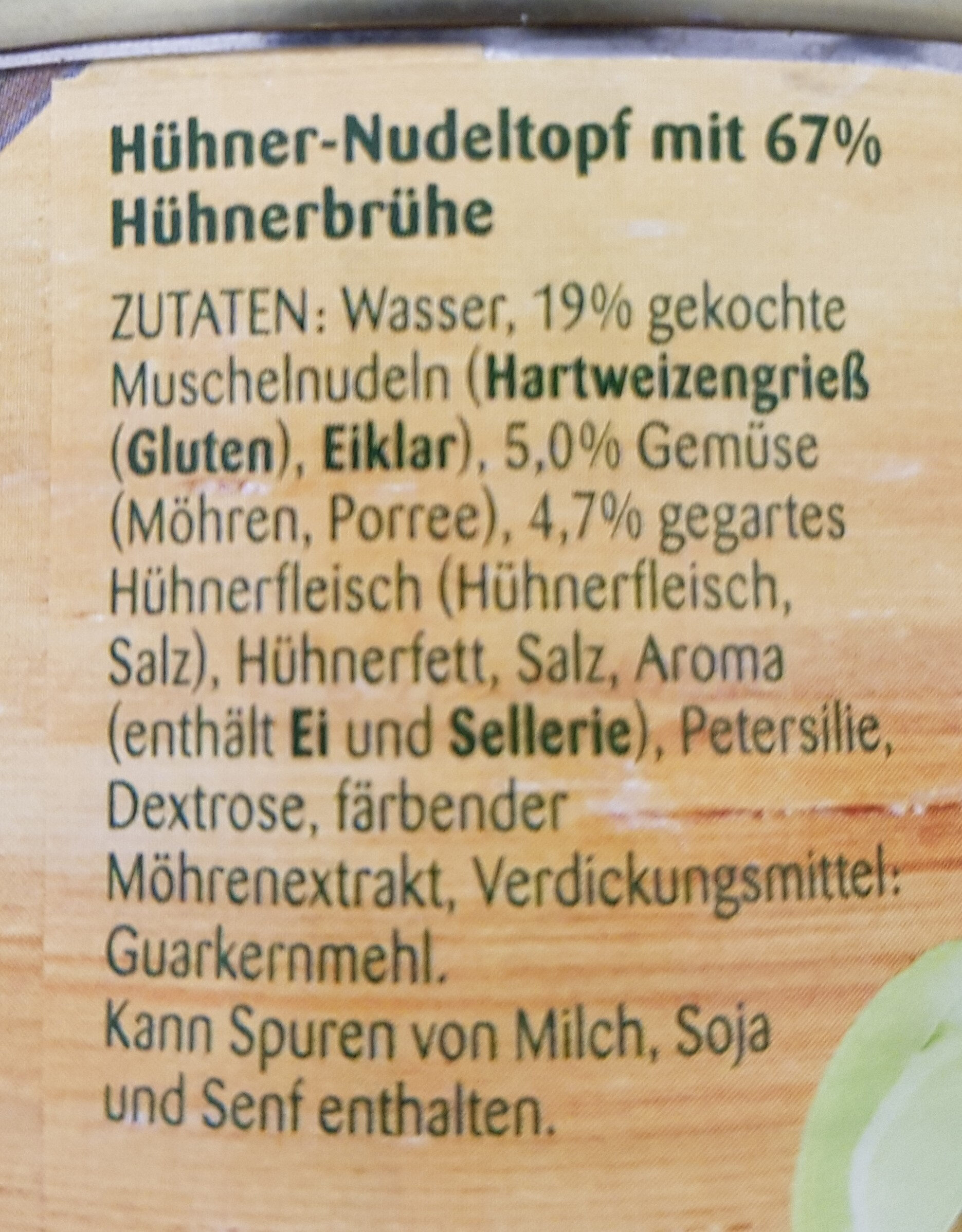 Hühner Nudel-Topf - Ingredients
