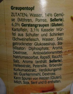 Erasco Graupen-Topf - Inhaltsstoffe