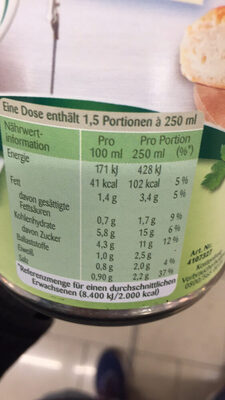 Tomaten Cremesuppe - Informations nutritionnelles