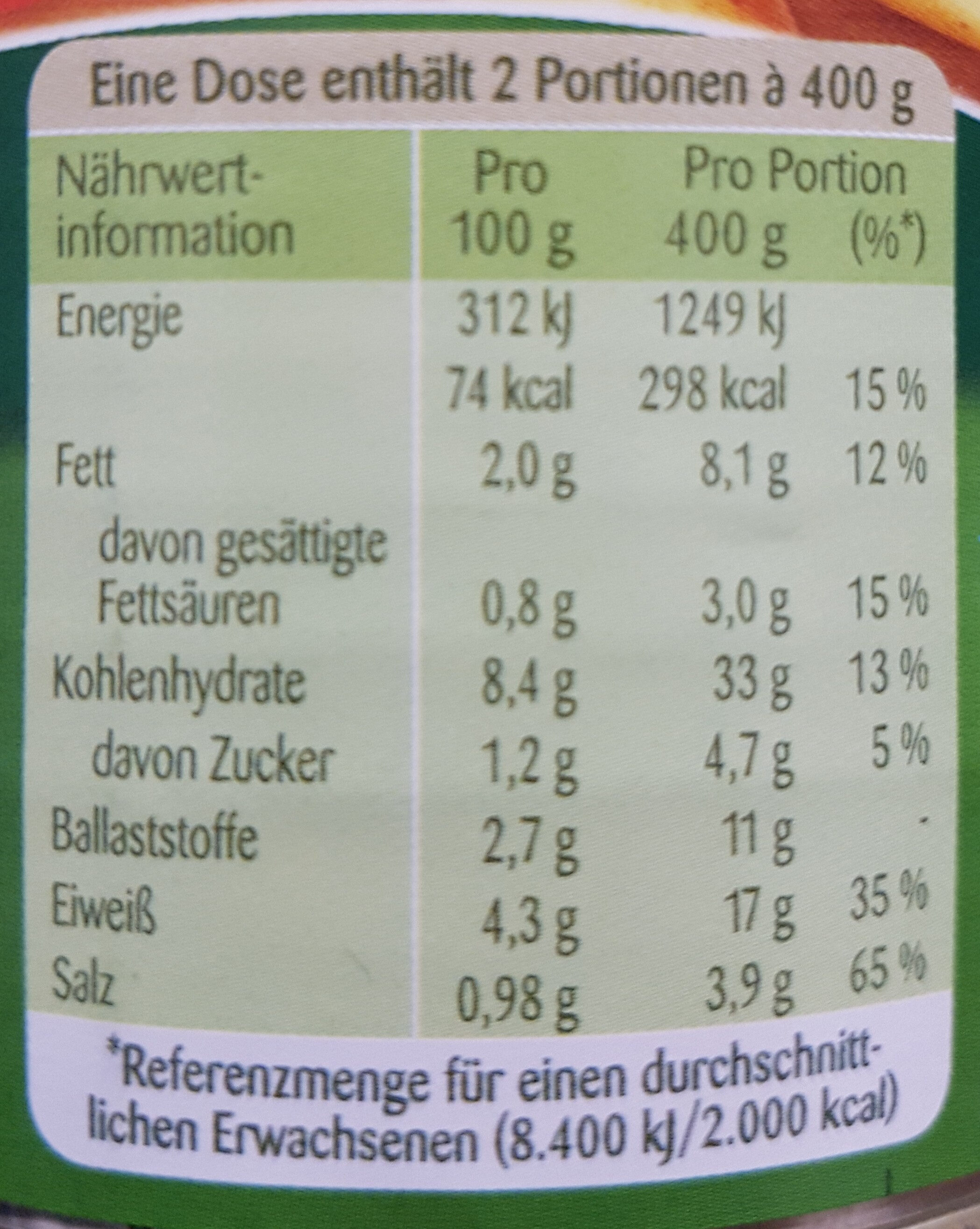 Linsen-Eintopf - Informations nutritionnelles - de