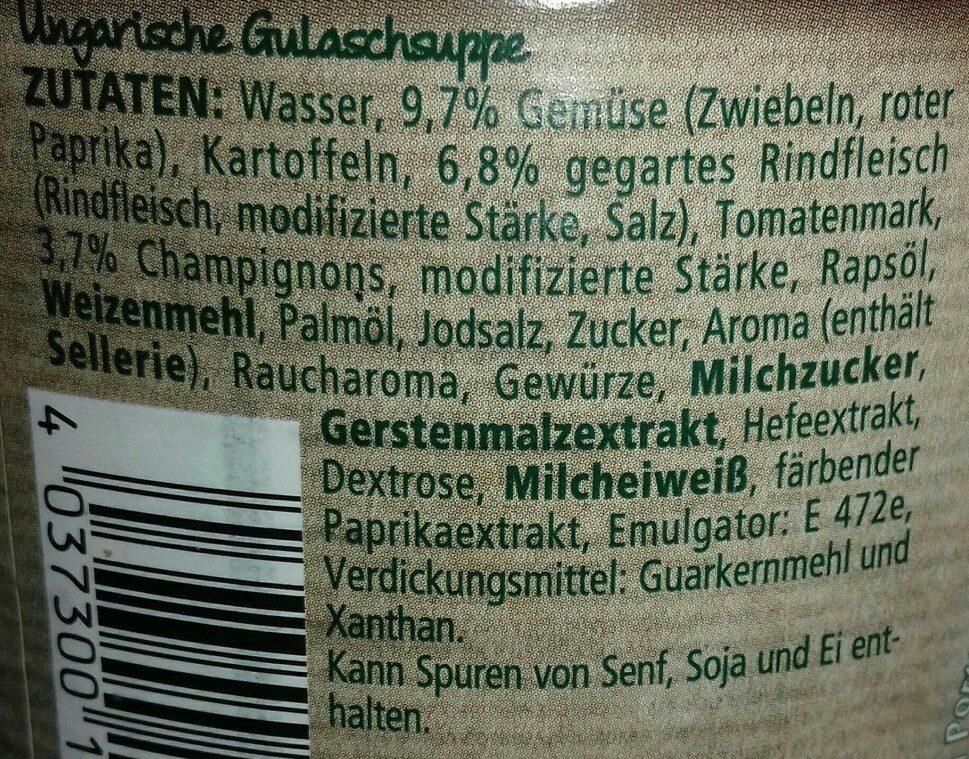 Ungarische Gulaschsuppe - Zutaten - de