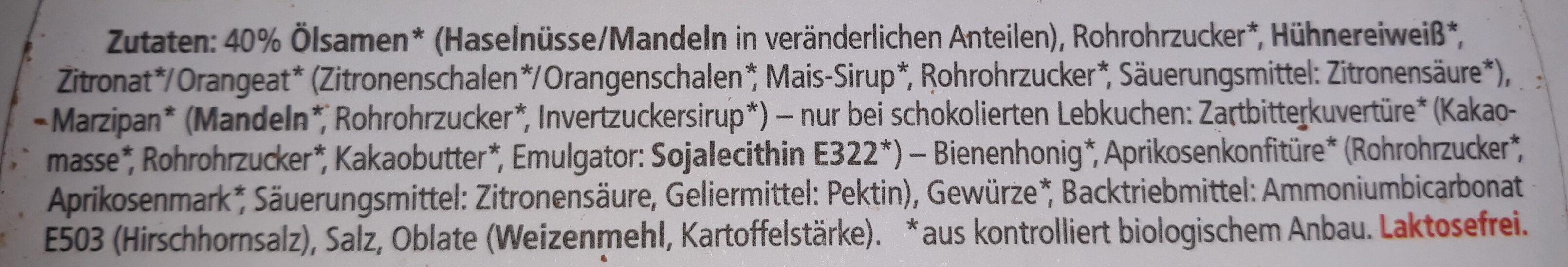 Bio Elisen-Lebkuchen Sortiert - Ingredients
