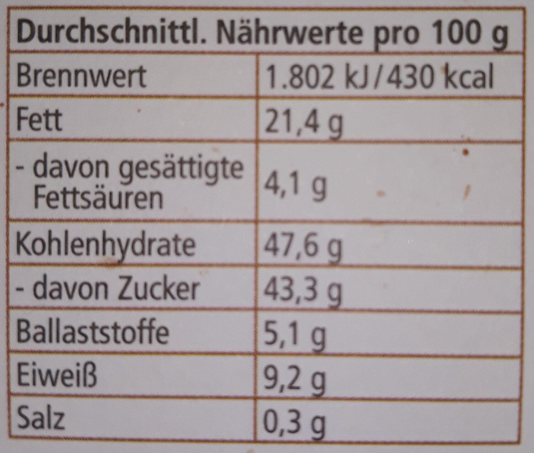 Bio Elisen-Lebkuchen Sortiert - Nutrition facts