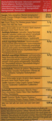 Boisson au millet - Informations nutritionnelles