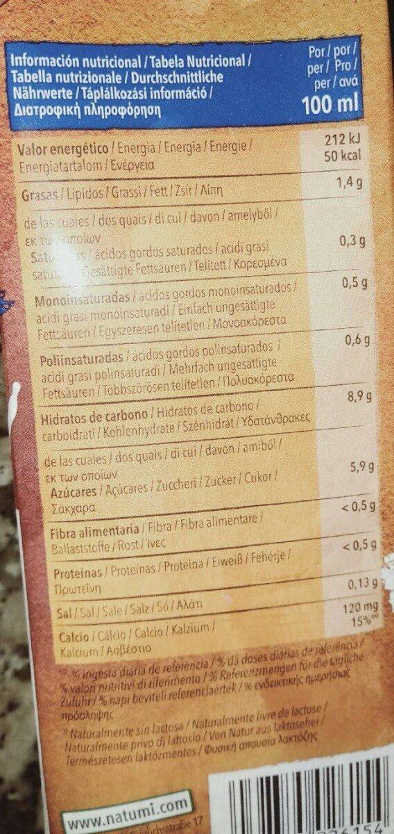 Leche de Avena - Informations nutritionnelles