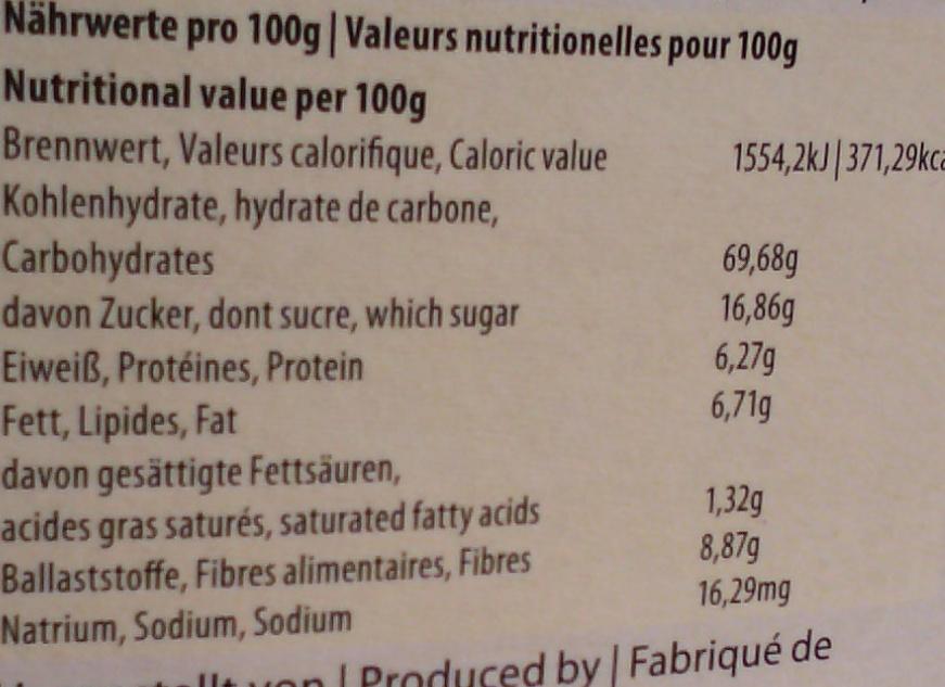 Crêpes aux châtaignes - Informations nutritionnelles - fr