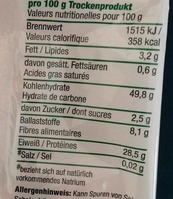 Govinda Bio Goodel Nudeln, Rote Linsen, 2 X - Nutrition facts