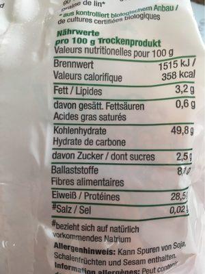 Govinda Bio Goodel Nudeln, Rote Linsen, 2 X - Informations nutritionnelles