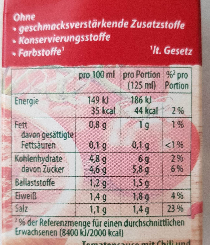 Tomato al Gusto All'Arrabbiata - Informations nutritionnelles