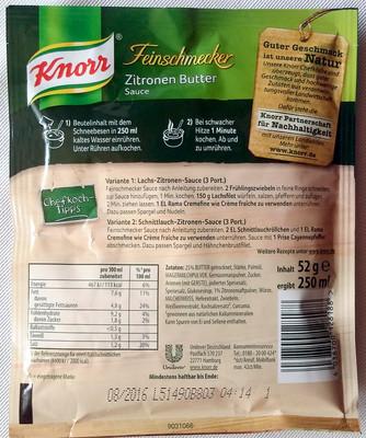 Zitronen Butter Sauce - Knorr - 52 G - 1