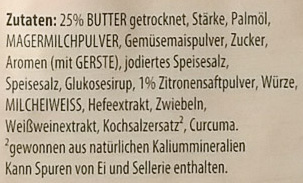 Zitronen Butter Sauce - Knorr - 52 G - Ingredients