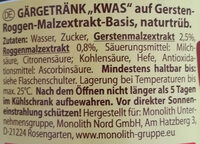 Квас – Gärgetränk auf Gersten-Roggen-Malzextrakt-Basis, naturtrüb - Ingredients