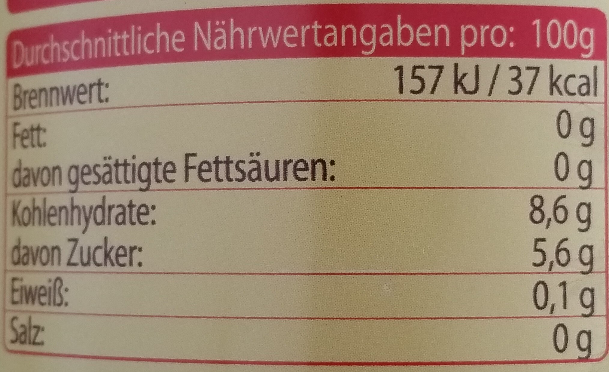 Квас – Gärgetränk auf Gersten-Roggen-Malzextrakt-Basis, naturtrüb - Nutrition facts