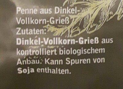 Penne Dinkel Vollkorn - Ingredients - de
