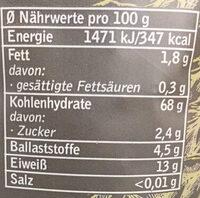 Penne Dinkel Vollkorn - Nutrition facts - de