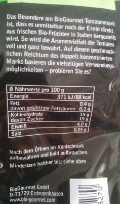 Tomatenmark - Nährwertangaben - de