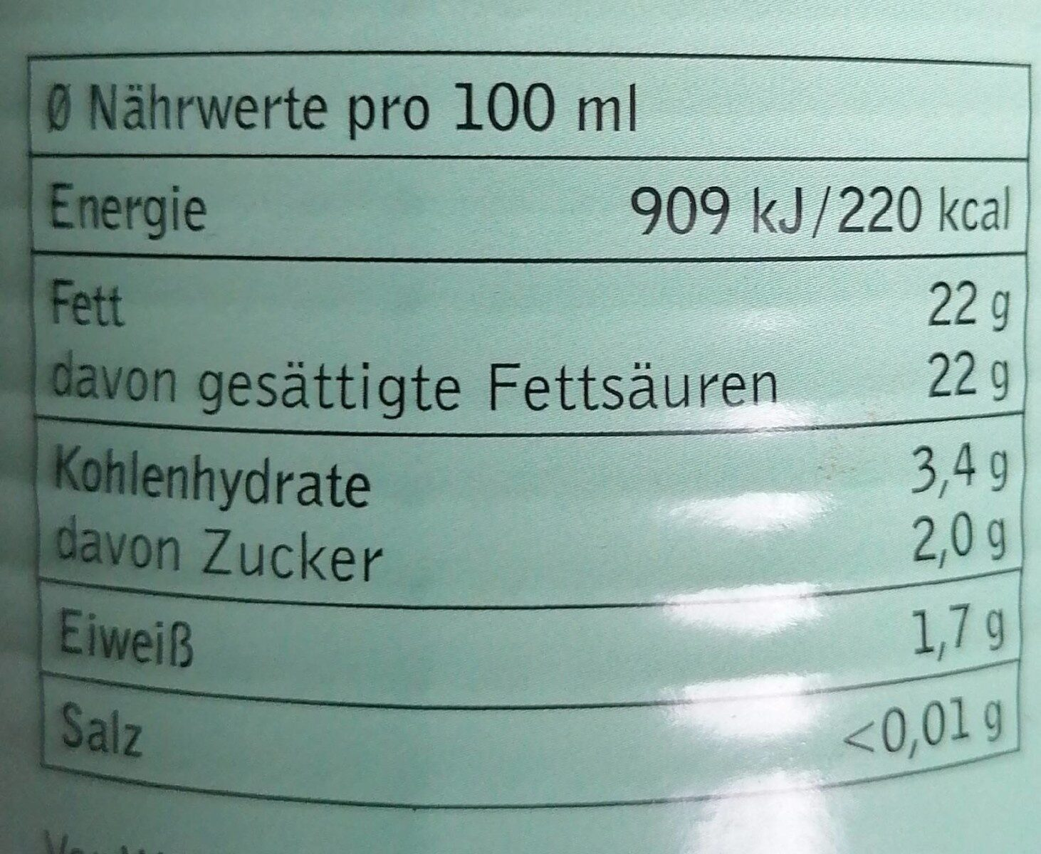 Kokomilch - Nährwertangaben - de