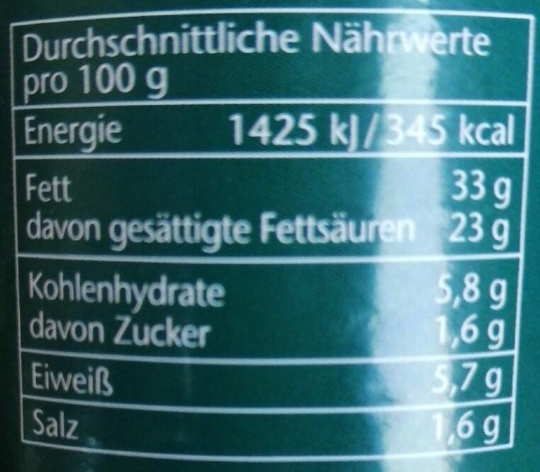 Vegane Leberwurst - Nährwertangaben - de