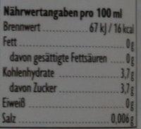 Karls Erdbeer Wasser mit Blubber - Nährwertangaben
