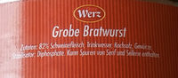 Grobe Bratwurst - Ingredients - de