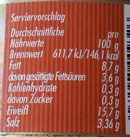 Grobe Bratwurst - Nutrition facts - de