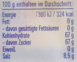 Ahoi-Brause-Pulver - Nährwertangaben