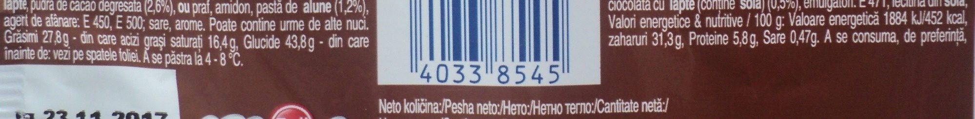 Zott Pandispan cu crema de lapte, ciocolata si alune - Informations nutritionnelles