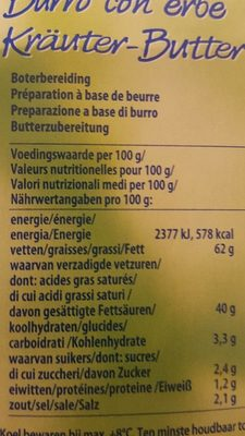 Kräuterbutter, Original - Nutrition facts