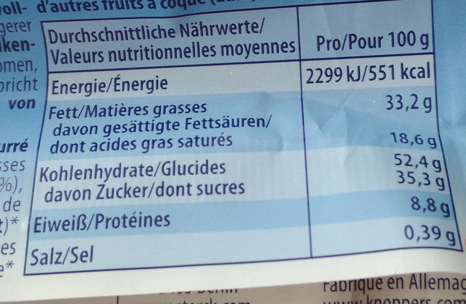 Knoppers Milch-Haselnuss-Schnitte knusprig - Nutrition facts - de