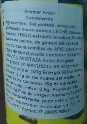 Knorr Aromat Seasoning 100G - Valori nutrizionali - fr