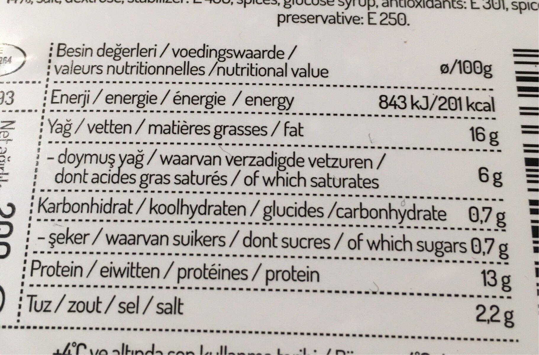 Salam De Boeuf - Nutrition facts - fr