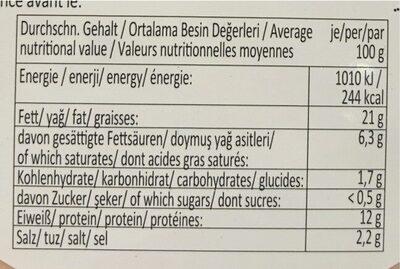 Saucisson de volaille halal - Voedingswaarden - fr