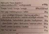 Saucisse de volaille aux pistaches - Nutrition facts