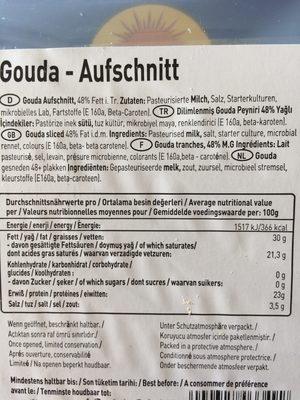 Gouda Cheese Sliced - Ingrediënten - fr