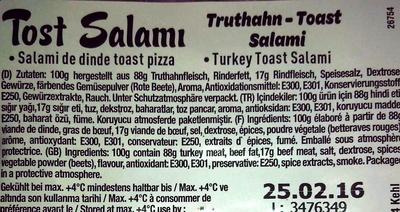 tost salami - Ingrediënten