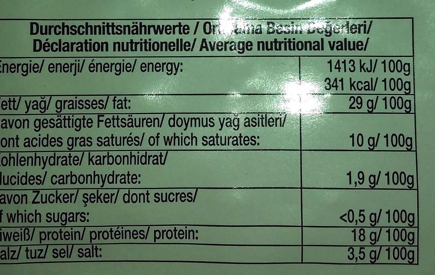 tost salami - Voedingswaarden